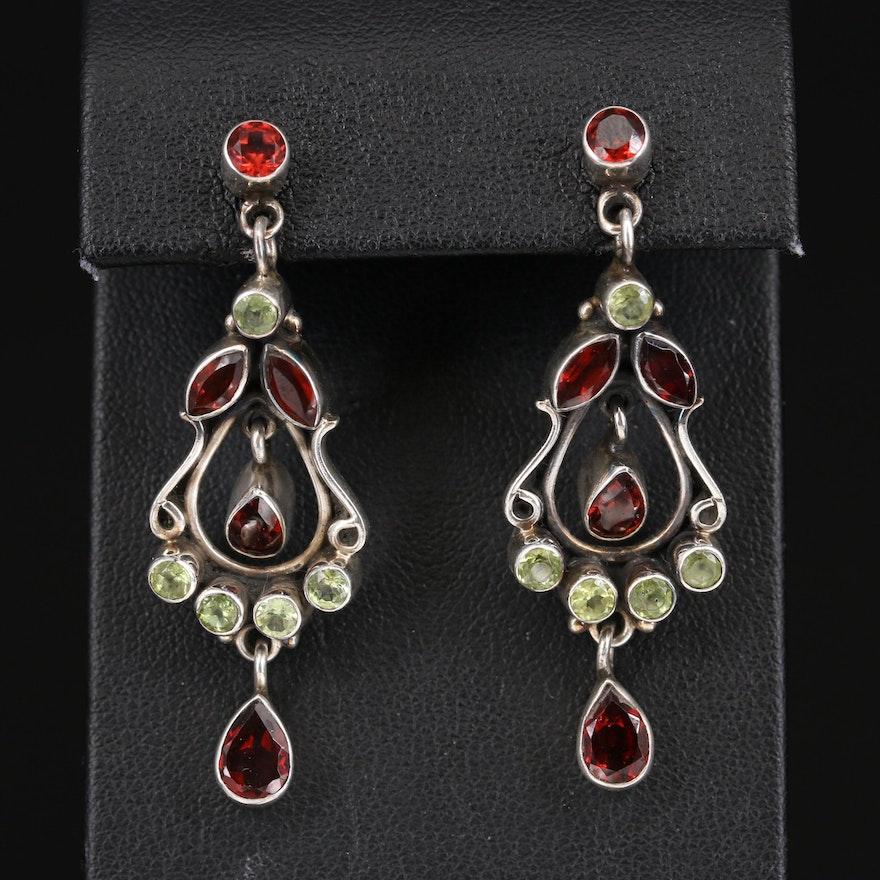 Sterling Garnet and Peridot Earrings