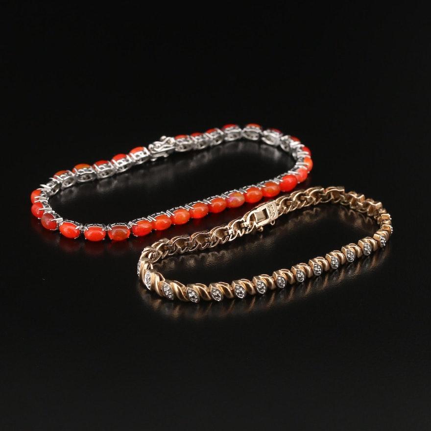 Sterling Opal and Diamond Bracelets