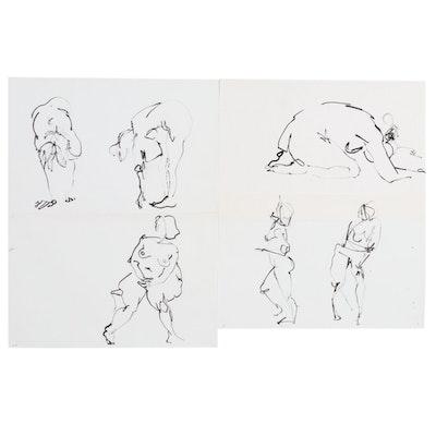John Tuska Ink Drawings of Female Nudes, Late 20th Century