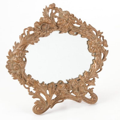 Art Nouveau Style Gilt Cast Metal Vanity Mirror