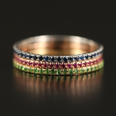 14K Tri-Color Stracking Eternity Bands with Sapphire, Ruby and Tsavorite