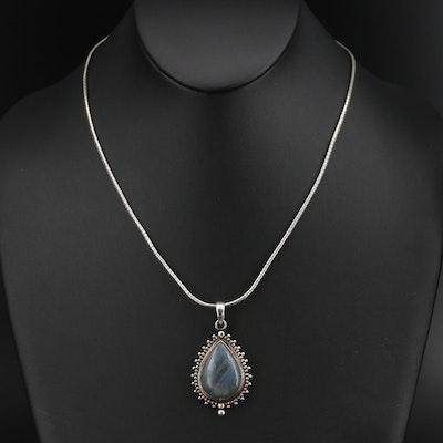 Italian Sterling Round Omega Chain Labradorite Pendant Necklace