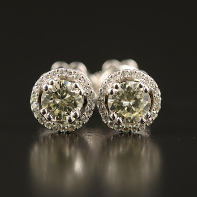 14K 1.06 CTW Diamond Stud Halo Earrings