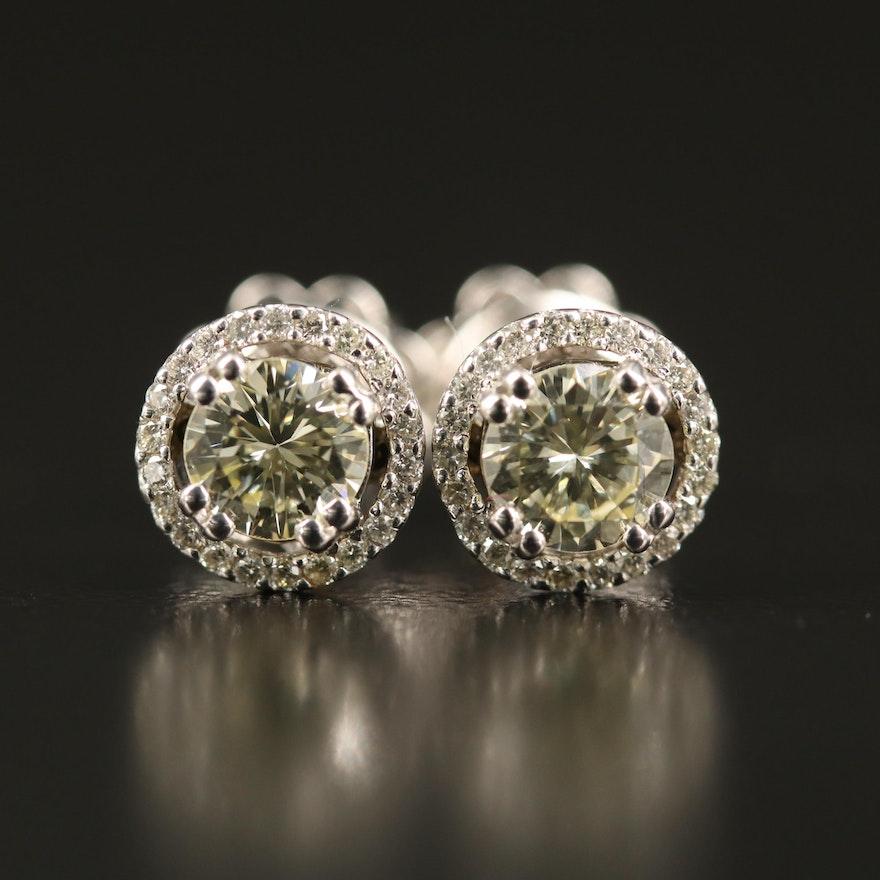 14K 1.06 CTW Diamond Stud Halo Earrings