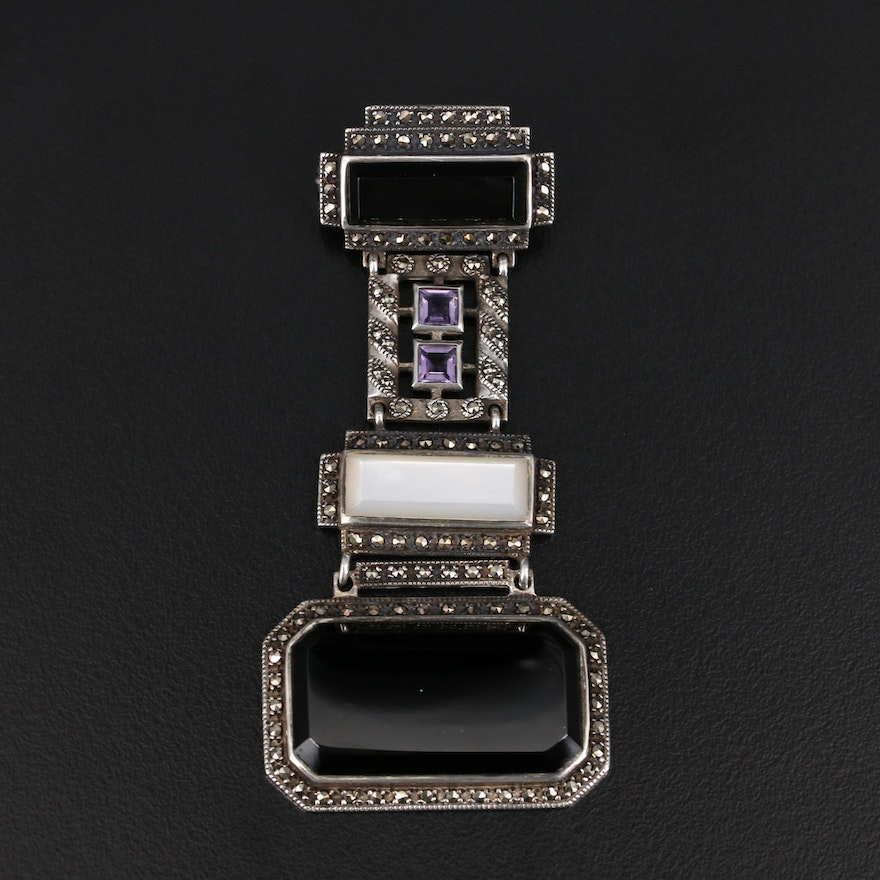 Sterling Onyx, Amethyst and Mother of Pearl Tiered Brooch with Marcasite Accents