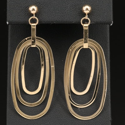 14K Concentric Oval Earrings