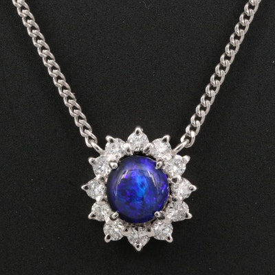 Platinum Black Opal and Diamond Halo Necklace