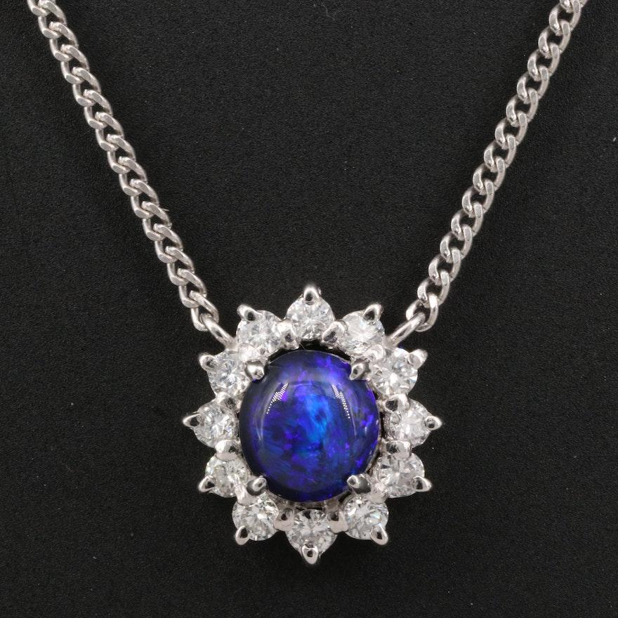 Platinum Black Opal and Diamond Halo Necklace