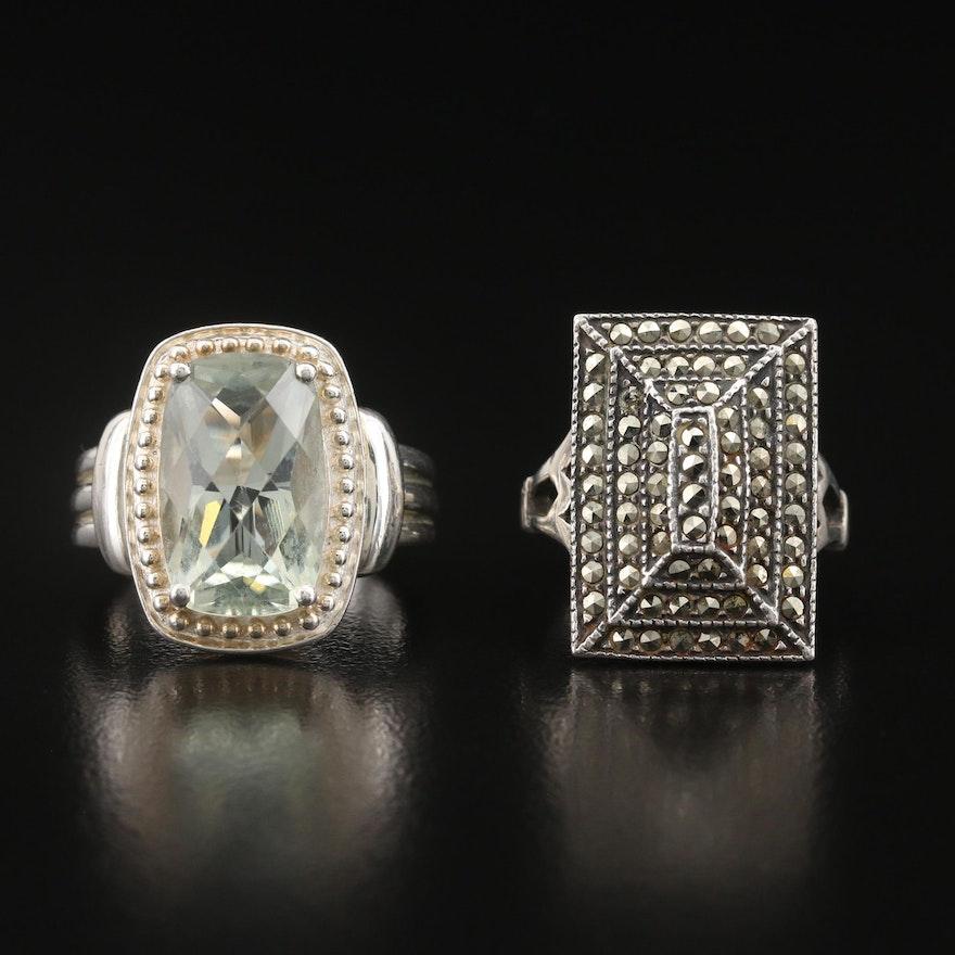 Vintage Sterling Marcasite and Prasiolite Rings