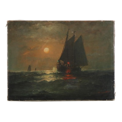 James J. McAuliffe Nautical Seascape Oil Painting, circa 1910