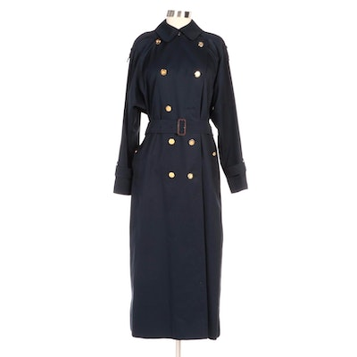 Burberrys of London Navy Blue Gabardine Double-Breasted Trench Coat