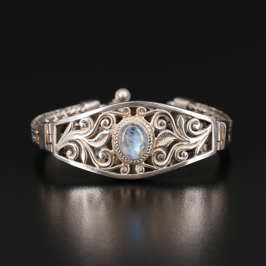 Sterling Moonstone Bali Style Bracelet