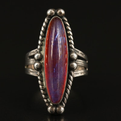 Sterling Dragon's Breath Glass Navette Ring