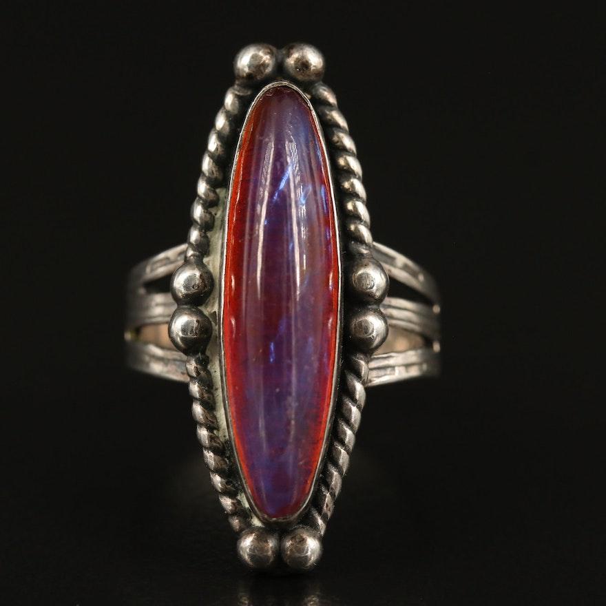 Sterling Dragon's Breath Glass Navette Ring