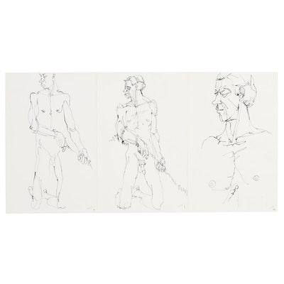 John Tuska Ink Drawings of Male Nudes, Late 20th Century