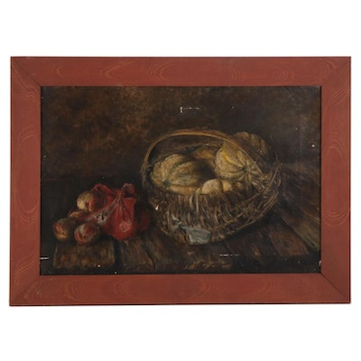 Still Life Oil Painting with Fruit, 19th Century