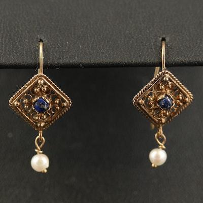 14K Lapis Lazuli and Pearl Dangle Earrings