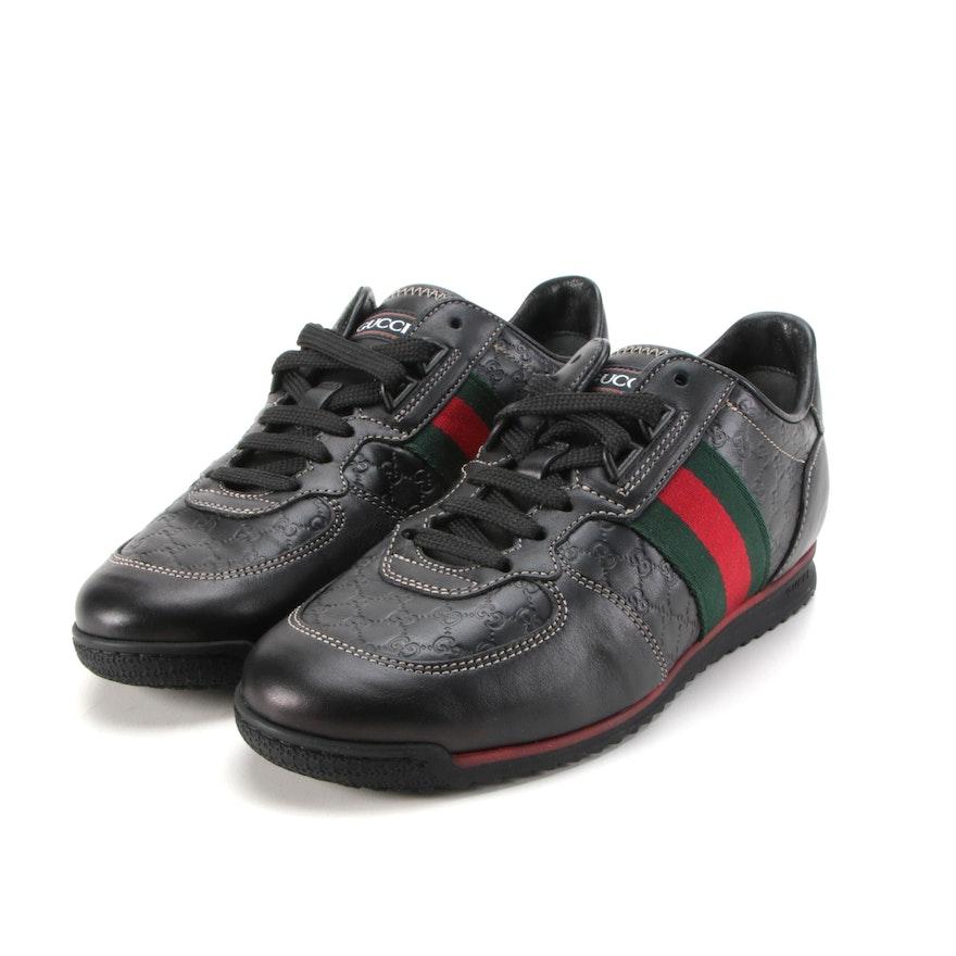 Gucci MicroGuccissima Web Trainers in Black Leather