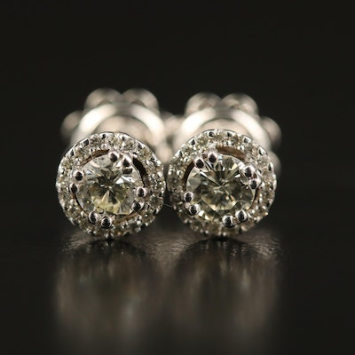 14K Diamond Stud Halo Earrings