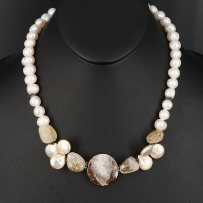 Sterling Pearl, Agate and Quartz Necklace