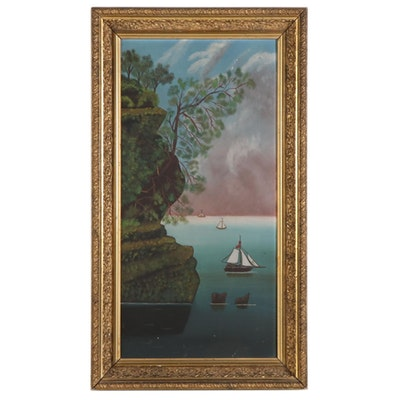 Folk Art Oil Painting of Boats and a Cliff