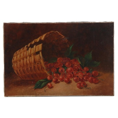 Oil Painting of Wicker Basket with Cherries, Late 19th to Early 20th Century