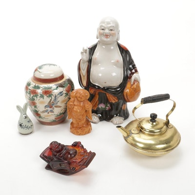 Asian Porcelain Ginger Jar, Budai Figurines, and More