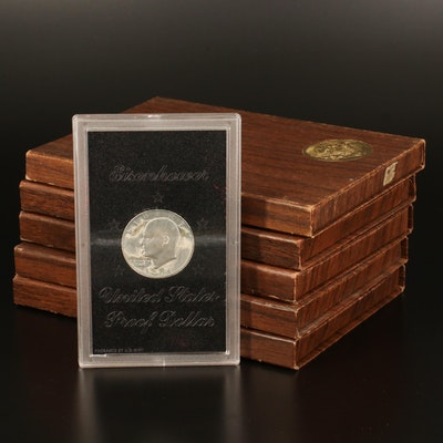 Five Eisenhower Proof Silver Dollars