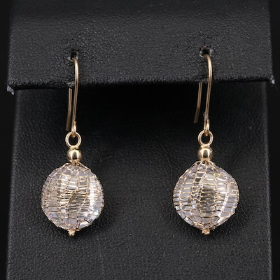 Milor Italian 14K Cubic Zirconia Wire Net Earrings