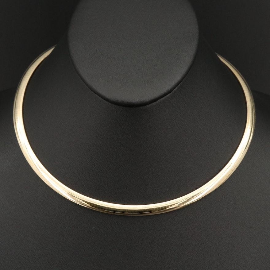 Italian 14K Yellow Gold Omega Necklace