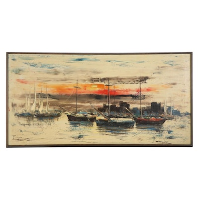 "Ozz França Impasto Oil Painting ""Harbor,"" Mid-20th Century"