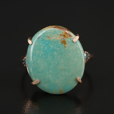 14K Rose Gold Turquoise and Diamond Ring