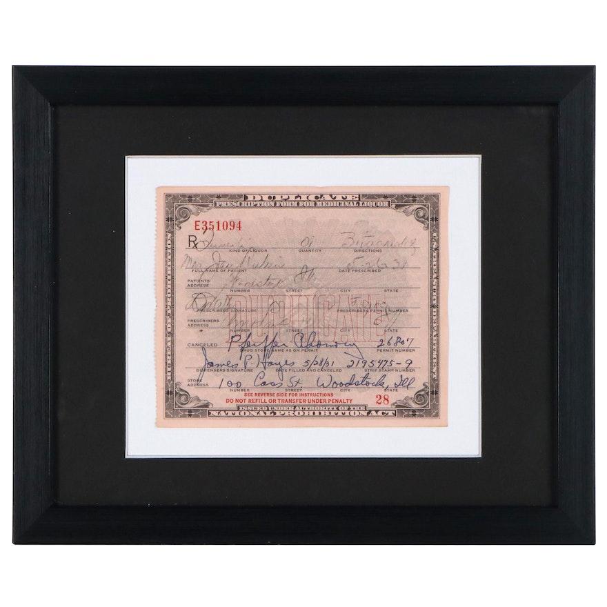 National Prohibition Act Medicinal Liquor Prescription Form Duplicate, 1931