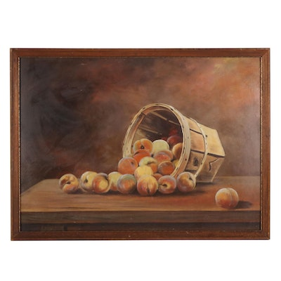 Still Life Oil Painting of Peaches