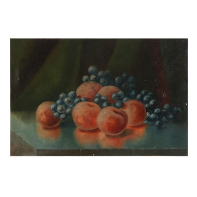 Still Life Oil Painting of Peaches and Blueberries, Late 19th-Early 20th Century
