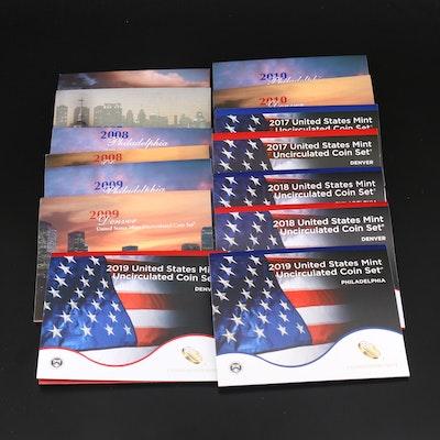 Seven U.S. Mint Uncirculated Sets