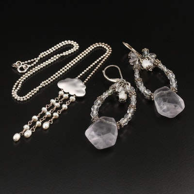 Rock Crystal Quartz and Gemstone Rain Cloud Tassel Necklace and Earrings
