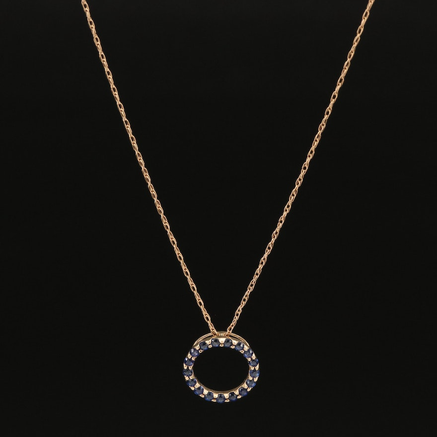 10K and 14K Sapphire Circle Necklace