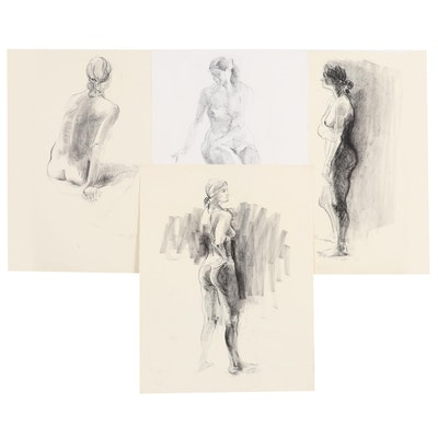 John Tuska Charcoal and Graphite Figural Study Drawings