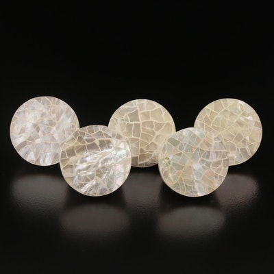 Mother of Pearl Mosaic Inlay Rings with Sterling Silver
