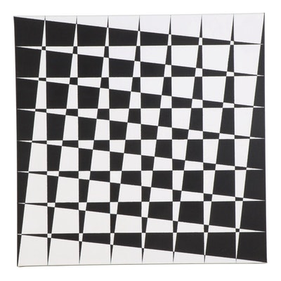 "deSanto Op Art Acrylic Painting ""The Crossing,"" 2021"