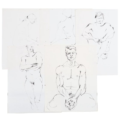John Tuska Figural Ink Drawings on Paper