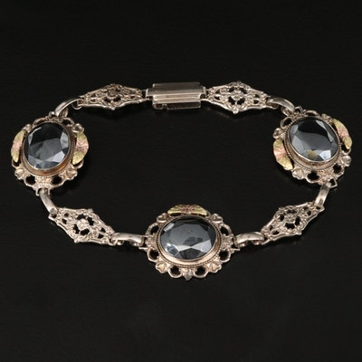 Sterling and Hematite Floral Openwork Bracelet