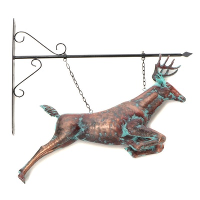Painted Copper Deer Wall Hanging Decor with Bracket