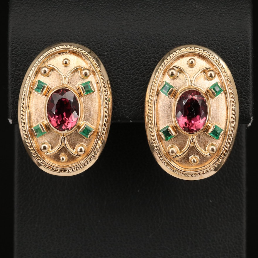 Etruscan Revival 14K Tourmaline and Emerald Earrings