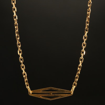 Italian 18K Station Cable Chain Necklace