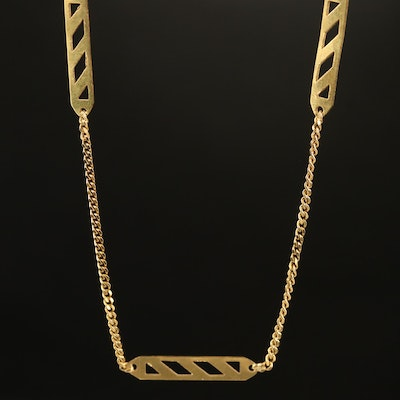 Italian 18K Station Curb Link Necklace
