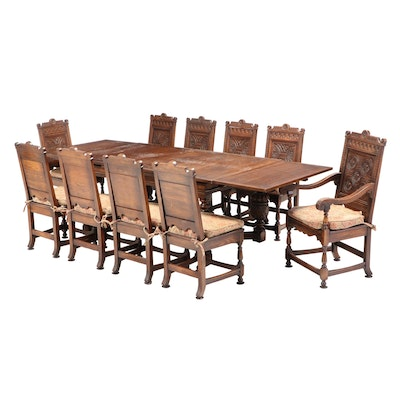 Eleven-Piece Jacobean Style Carved Oak Dining Set, Early 20th Century