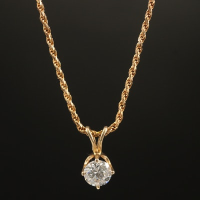 14K 0.45 CT Diamond Solitaire Pendant Necklace