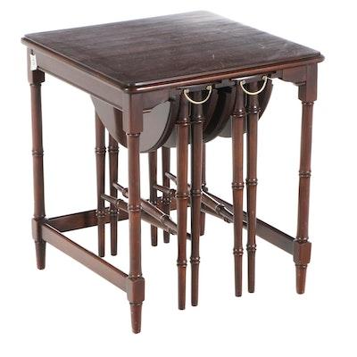 Three-Piece Regency Style Cherry Nesting Table Set